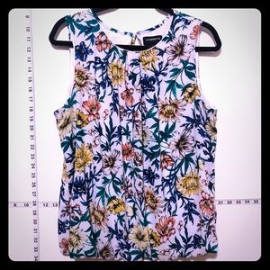 Silky floral tank colorful light sleeveless blouse